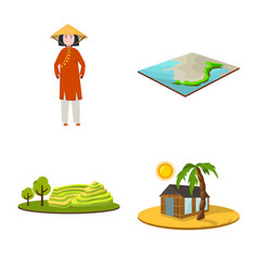 Design travel and country icon set of vector