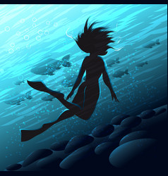 Diver woman vector