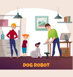 Dog robot repair vector