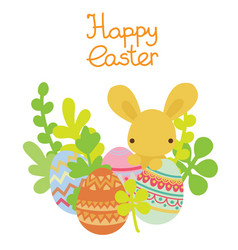 easter bunny hiding in the eggs vector image