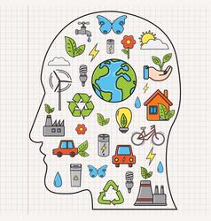 Ecology and environment concept human face vector