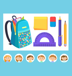 Educational equipment backpack and office vector