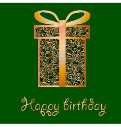 Elegant filigree birthday card in format vector
