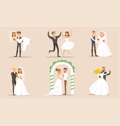 elegant romantic just married couples set vector image