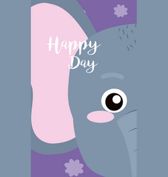 Elephant cute animal cartoon card vector