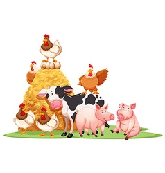 Farm animals with haystack vector