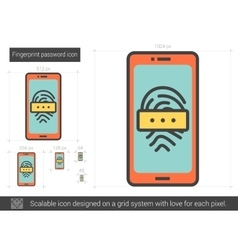 Fingerprint password line icon vector