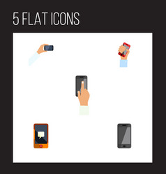 flat icon phone set of cellphone telephone vector image