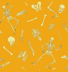 flat line human skeleton seamless pattern vector image