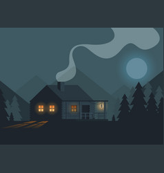 flat night forest with house vector image