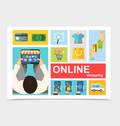 flat online shopping composition vector image