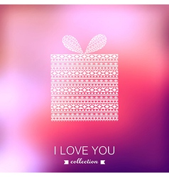 Gift box Valentines Day background Blurred vector image