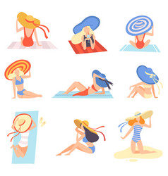 Girls in swimsuits and hats sunbathing on beach vector