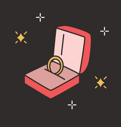 golden engagement ring in open box on black vector image