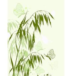 Green oat and butterflies vector