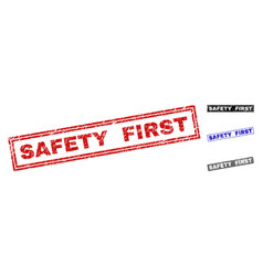 grunge safety first scratched rectangle stamps vector image