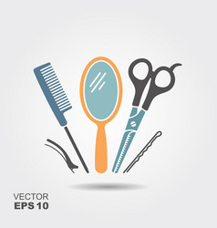 hairdressing equipment scissors comb mirror and vector image