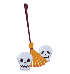 Halloween skulls heads with broom vector