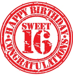 Happy birthday sweet 16 grunge rubber stamp vector