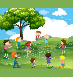 happy children playing hopscotch in park vector image