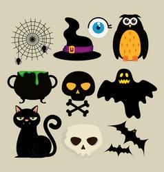 Happy halloween celebration set icons vector