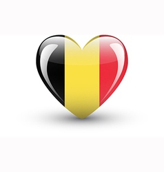 Heart-shaped icon with national flag belgium vector