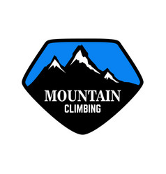 hiking emblem template with mountains design vector image