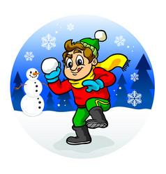 Kid throwing snowball vector