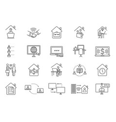 large set black and white online worker icons vector image