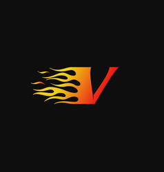 letter v burning flame logo design template vector image