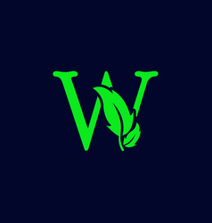 Letter w leaf nature eco green logo template vector