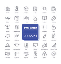 Line icons set college vector