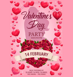 loving couple hearts roses valentines day party vector image