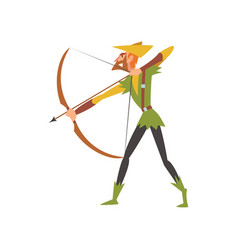 Male archer with bow medieval historical cartoon vector