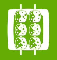 Meat shashlik icon green vector
