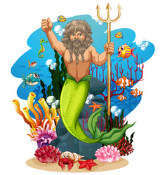 merman and many fish under ocean vector image