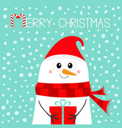 merry christmas snowman holding gift box present vector image