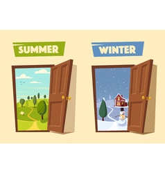 Open door Winter and summer Cartoon vector