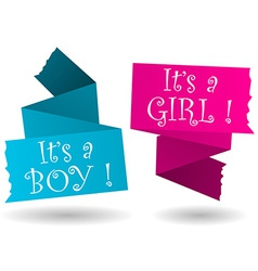 Origami banner-boy-girl-announcement vector image