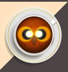 Owl drinking coffee vector
