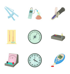 precision instrument icons set cartoon style vector image