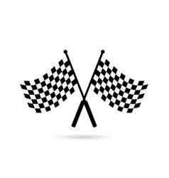 racing flag finish with shadow on a white vector image