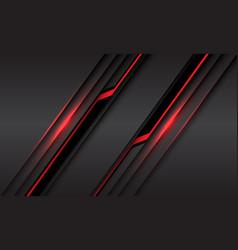 red line light black cyber slash on grey metallic vector image