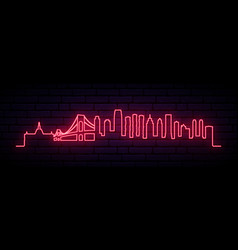 red neon skyline jersey city city bright vector image