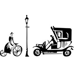 Retro street scene vector image