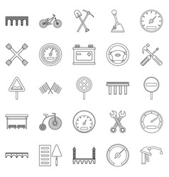 Roadbed icons set outline style vector