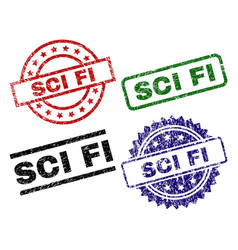 Scratched textured sci fi stamp seals vector