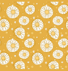 seamless chamomile pattern on yellow background vector image