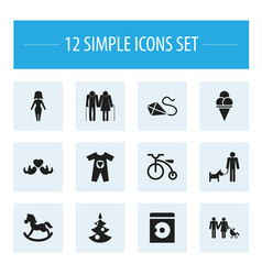 set of 12 editable folks icons includes symbols vector image
