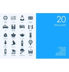 Set of blue hamster library england icons vector